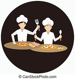 two chef working together prepare for the dish food in...