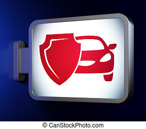 Insurance concept: Car And Shield on billboard background -...