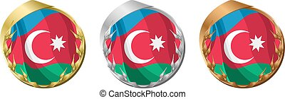 Medals Azerbaijan - A gold, silver and bronze medal with the...