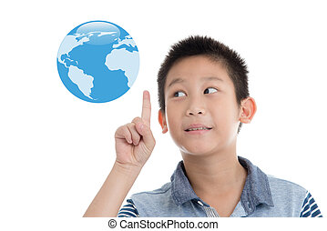 Asian boy pointing blue earth on white background.