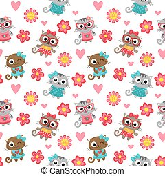 Seamless pattern with cute cartoon cats. Vector image.