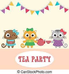 Tea party invitation with cute owls with teapot and cup