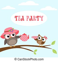 Tea party invitation with cute owls on branch with teapot...