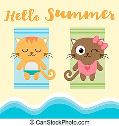 Summer vacation vector card with couple of cats