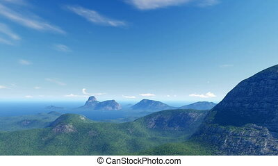 Waving Brazil flag and mountains - Panorama of blue sky,...