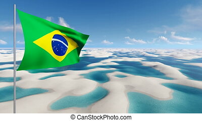 Brazilian flag on unique desert background 4K - Panorama of...