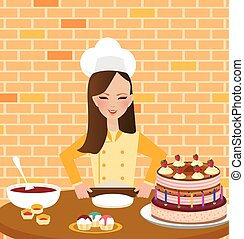 girls woman chef cooking baking cake in kitchen wearing hat and apron