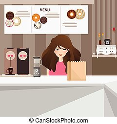 woman female customer smile in cafe with donuts and coffee...