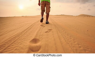 Tourist Leaves Footsteps on Tracks in White Sand Dunes -...