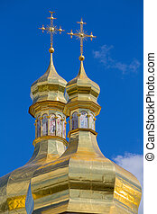 Kiev-Pechersk Lavra monastery in Kiev. Ukraine - Golden...