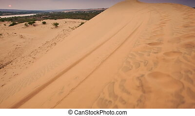 Tourist Photos Landscape on Crest of White Sand Dunes -...