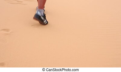 Tourist Walks White Sand Dunes - closeup backside old man in...