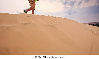 Old Man Stands on Crest Cries with Joy in White Sand Dunes -...
