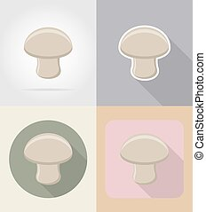 champignon mushroom food and objects flat icons vector...