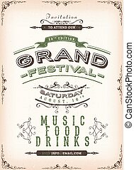 Vintage Festival Poster Background - Illustration of a...
