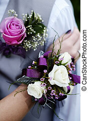 Formal Prom Wedding Corsage Flowers Boy and Girl - Hand with...