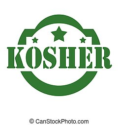 Kosher-green stamp - Green stamp with text Kosher,vector...