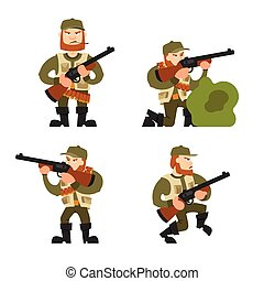 Hunters vector illustration on isolated background - Hunters...
