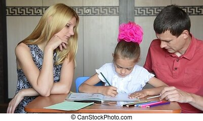 Parents are involved in the lessons with her daughter...
