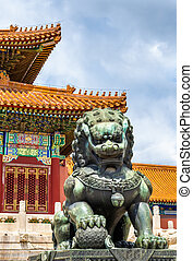 Bronze lion near the Hall of Supreme Harmony - Beijing...