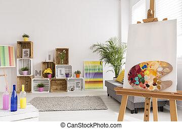 creativo, habitación, artista