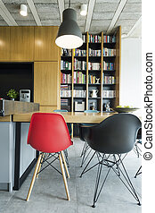 Black and red accent in a new interior