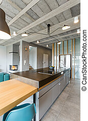Modern open floor kitchen - Spacious apartment in an...