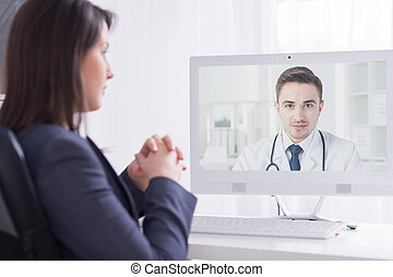 Presenting his professional experience to a medical director...