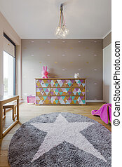 Room of a little star - Beautiful baby girl room with a...