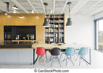 Dining room and kitchen combined - Interior in an industrial...