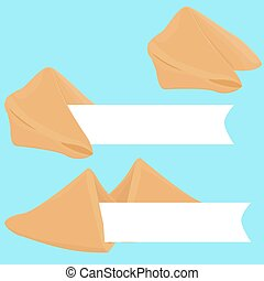 Vector realistic cracked fortune cookie with paper for your text