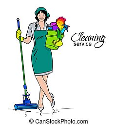 Woman in uniform. Cleaning services. - Cleaning services....