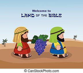 Two spies of israel carrying grapes - Two spies, ancient...