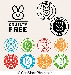 Cruelty free sign icon Not tested symbol Round colourful
