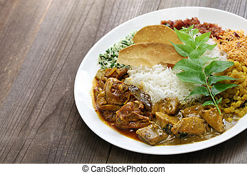 sri lankan rice and curry dish - rice and curry, sri lankan...