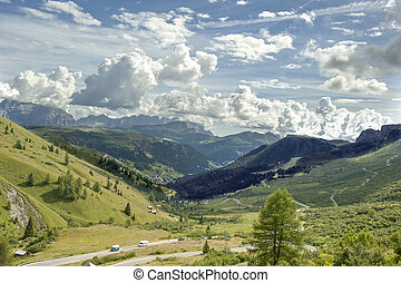 Gardena Pass overview - Summer overview of the Italian...