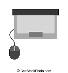 laptop with mouse topview , vector illustration