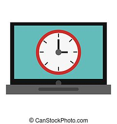 laptop with clock , vector illustration