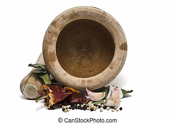 Mortar and pestle 12. - Mortar and pestle wit som spices...
