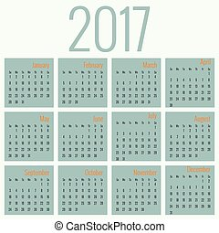 Monthly Calendar for 2017 Simple month grid template Vector...