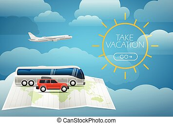 Different vehicle tour concept. Summer holidays concept