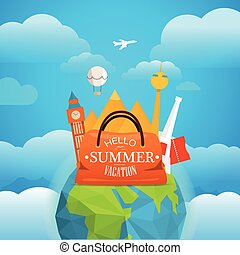 Vacation travelling concept. Vector travel illustration with...