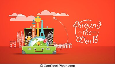 Vacation travelling composition with the open bag. Around the world concept