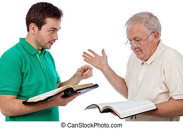 Discussing the Bible - Young man sharing Gods Words with an...