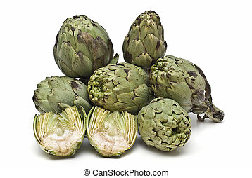 Artichokes 8 - Fresh artichokes isolated on a white...