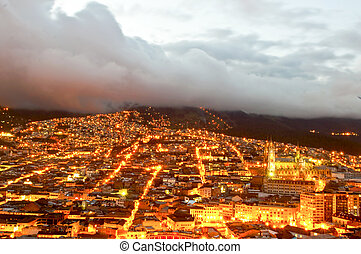 Night in Quito - Night of the historical center of Quito,...