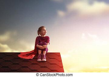 child plays superhero - Little child plays superhero Kig on...