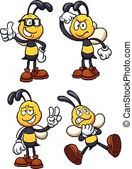 Cartoon bees in different poses. Vector clip art...