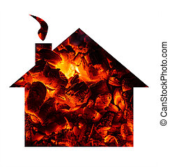 Hot house conept - Hot coal shaped in a house.