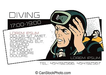 People in retro style. Diver. Template ads or business card.